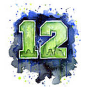 12th Man Seahawks Art Seattle Go Hawks Art Print