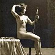Vintage Nude Postcard Image Art Print