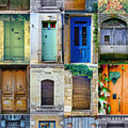 16 Doors In France Collage Art Print by Georgia Fowler