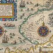 1601 De Bry And De Veer Map Of Nova Zembla And The Northeast Passage Art Print