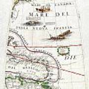 1688 Coronelli Globe Gore Map Of Ne North America The West Indies And Ne South America Geographicus  Art Print