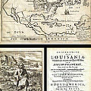 1688 Hennepin First Book And Map Of North America First Printed Map To Name Louisiana Geographicus N Art Print