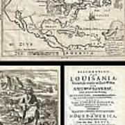1688 Hennepin First Book And Map Of North America Art Print