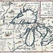 1696 Coronelli Map Of The Great Lakes Most Accurate Map Of The Great Lakes In The 17th Century Geogr Art Print