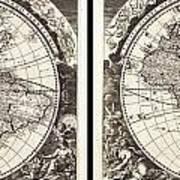 1696 Zahn Map Of The World In Two Hemispheres Geographicus World Zahn 1696 Art Print
