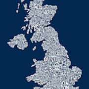 Great Britain Uk City Text Map Art Print by Michael Tompsett