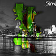 Sacramento Map And Skyline Watercolor Art Print