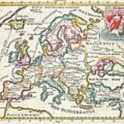 1706 De La Feuille Map Of Europe Art Print