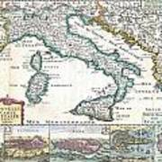 1706 De La Feuille Map Of Italy Art Print