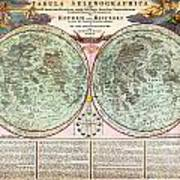 1707 Homann And Doppelmayr Map Of The Moon Geographicus Tabulaselenographicamoon Doppelmayr 1707 Art Print