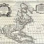 1708 De Lisle Map Of North America Covens And Mortier Ed Geographicus Ameriqueseptentrionale Covensm Art Print