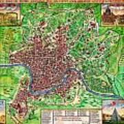 1721 John Senex Map Of Rome Geographicus Rome Sennex 1721 Art Print