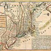 1729 Moll Map Of New York New England And Pennsylvania  Art Print