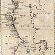 1730 Van Verden Map Of The Caspian Sea Art Print