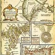 1747 Bowen Map Of The North Atlantic Islands Greenland Iceland Faroe Islands Maelstrom Geographicus  Art Print