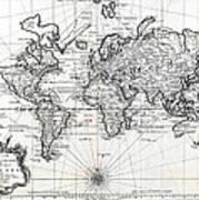1748 Antique World Map Versuch Von Einer Kurzgefassten Karte  Art Print