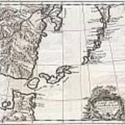 1750 Bellin Map Of The Kuril Islands Art Print
