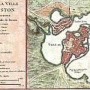 1756 Bellin Map Of Boston Massachusetts Art Print