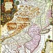 1756 Lotter Map Of Pennsylvania New Jersey New York Geographicus Pensylvanianovajersey Lotter 1756 Art Print