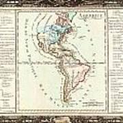 1760 Desnos And De La Tour Map Of North America And South America Geographicus Amerique Desnos 1760 Art Print