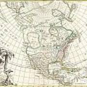 1762 Janvier Map Of North America  Art Print