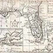 1763 Gibson Map Of East And West Florida Art Print by Paul Fearn