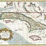 1763 Terreni  Coltellini Map Of Cuba And Jamaica Art Print