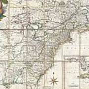 1779 Phelippeaux Case Map Of The United States During The Revolutionary War Art Print