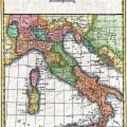 1780 Raynal And Bonne Map Of Italy Art Print