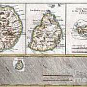 1780 Raynal And Bonne Map Of Mascarene Islands Reunion Mauritius Bourbon Art Print