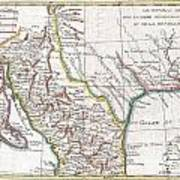 1780 Raynal And Bonne Map Of Mexico And Texas  Art Print
