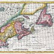 1780 Raynal And Bonne Map Of New England And The Maritime Provinces Art Print