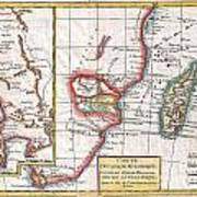 1780 Raynal And Bonne Map Of South Africa Zimbabwe Madagascar And Mozambique Art Print