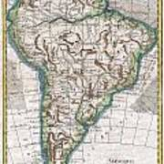 1780 Raynal And Bonne Map Of South America Art Print