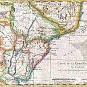 1780 Raynal And Bonne Map Of Southern Brazil Northern Argentina Uruguay And Paraguay Art Print