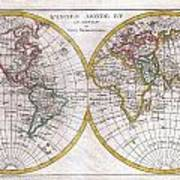 1780 Raynal And Bonne Map Of The Two Hemispheres Art Print