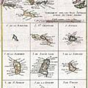 1780 Raynal And Bonne Map Of The Virgin Islands And Antilles West Indies Art Print