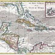 1780 Raynal And Bonne Map Of The West Indies Caribbean And Gulf Of Mexico Art Print