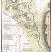 1783 Bocage Map Of The Topography Of Sparta Ancient Greece And Environs Art Print