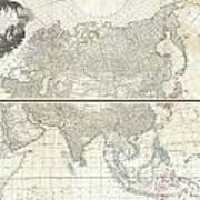 1784 D Anville Wall Map Of Asia Art Print
