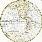1785 Clouet Map Of North America And South America Art Print