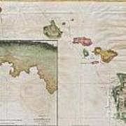 1785 Cook  Bligh Map Of Hawaii  Art Print