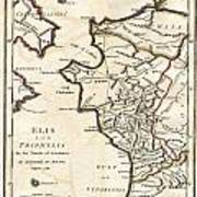 1786 Bocage Map Of Elis And Triphylia In Ancient Greece  Art Print