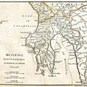 1786 Bocage Map Of Messenia In Ancient Greece Art Print