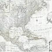 1788 Schraembl  Pownall Map Of North America And The West Indies Art Print