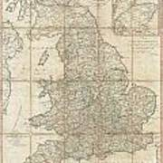 1790 Faden Map Of The Roads Of Great Britain Or England Art Print