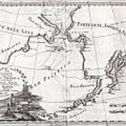1798 Cassini Map Of Alaska And The Bering Strait Art Print
