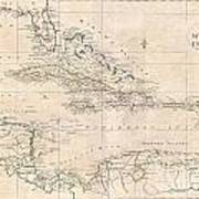1799 Clement Cruttwell Map Of West Indies Art Print