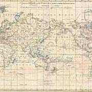 1799 Cruttwell Map Of The World On Mercators Projection Art Print