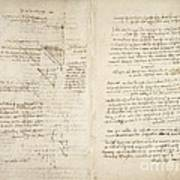 Notes By Leonardo Da Vinci, Codex Arundel Art Print
